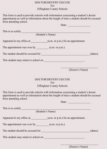 doctor excuse slip